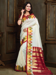 Cream Color Patola Silk Party & Function Wear Sarees : Ishwari Collection  YF-59978