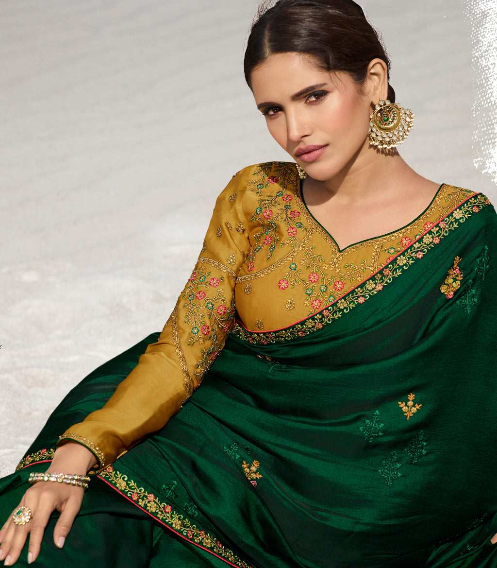 Bottle Green Color Dola Silk Dazzling Festive Sarees NYF-5734