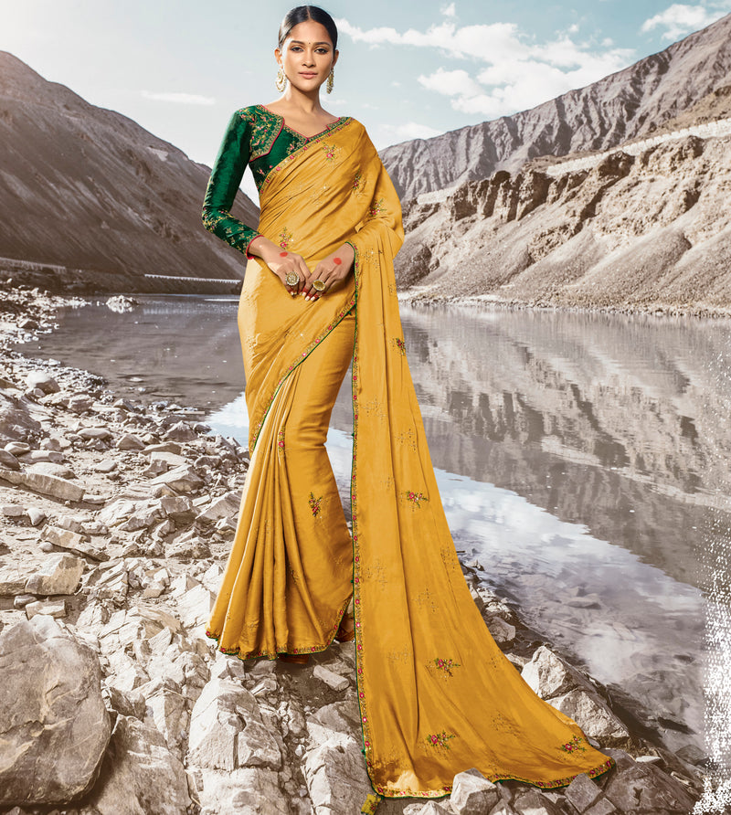 Yellow Color Dola Silk Dazzling Festive Sarees NYF-5736