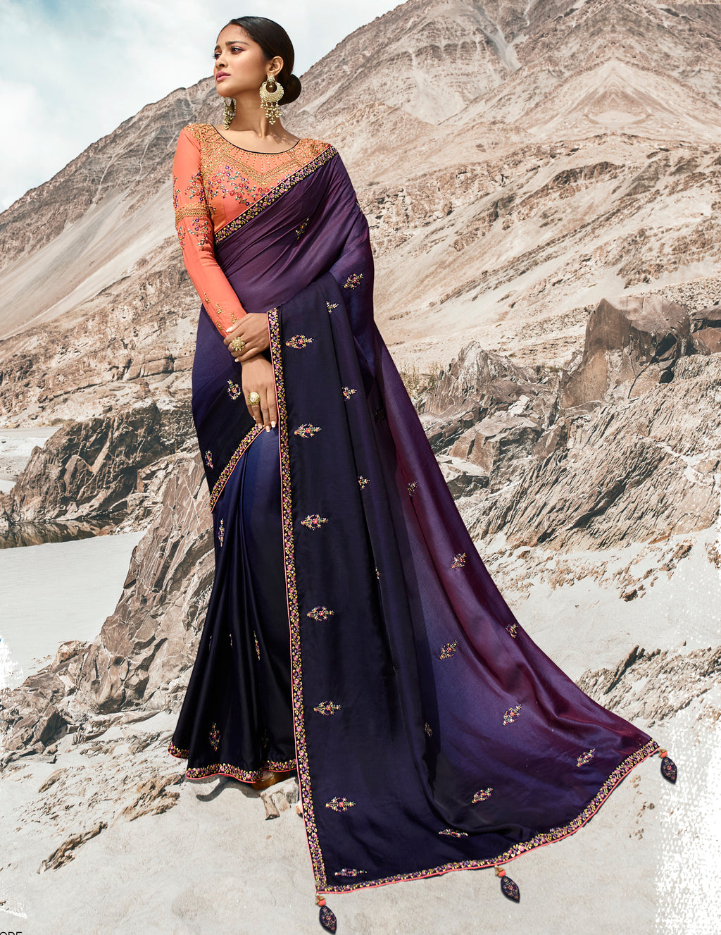 Purple Color Dola Silk Dazzling Festive Sarees NYF-5737