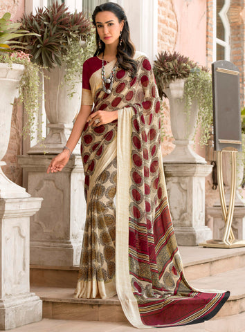 Cream & Red Color Georgette Party Wear Sarees : Pritkrit Collection YF-69272
