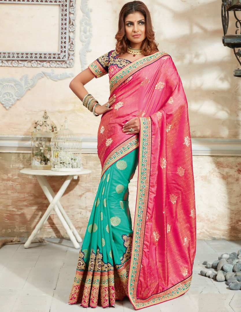 Pink & Firozi Color Raw Silk Designer Bridal Sarees : Rupashi Collection  NYF-2886 - YellowFashion.in