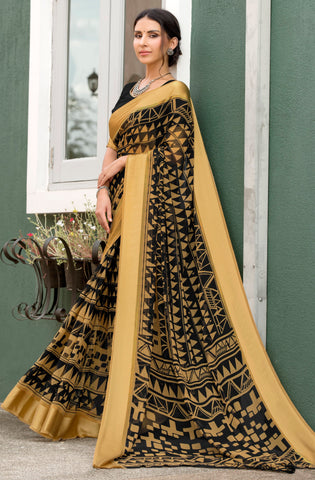 Black & Brown Color Georgette Party Wear Sarees : Pritkrit Collection YF-69275