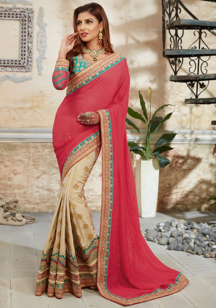 Pink & Cream Color Raw Silk Designer Bridal Sarees : Rupashi Collection  NYF-2887 - YellowFashion.in
