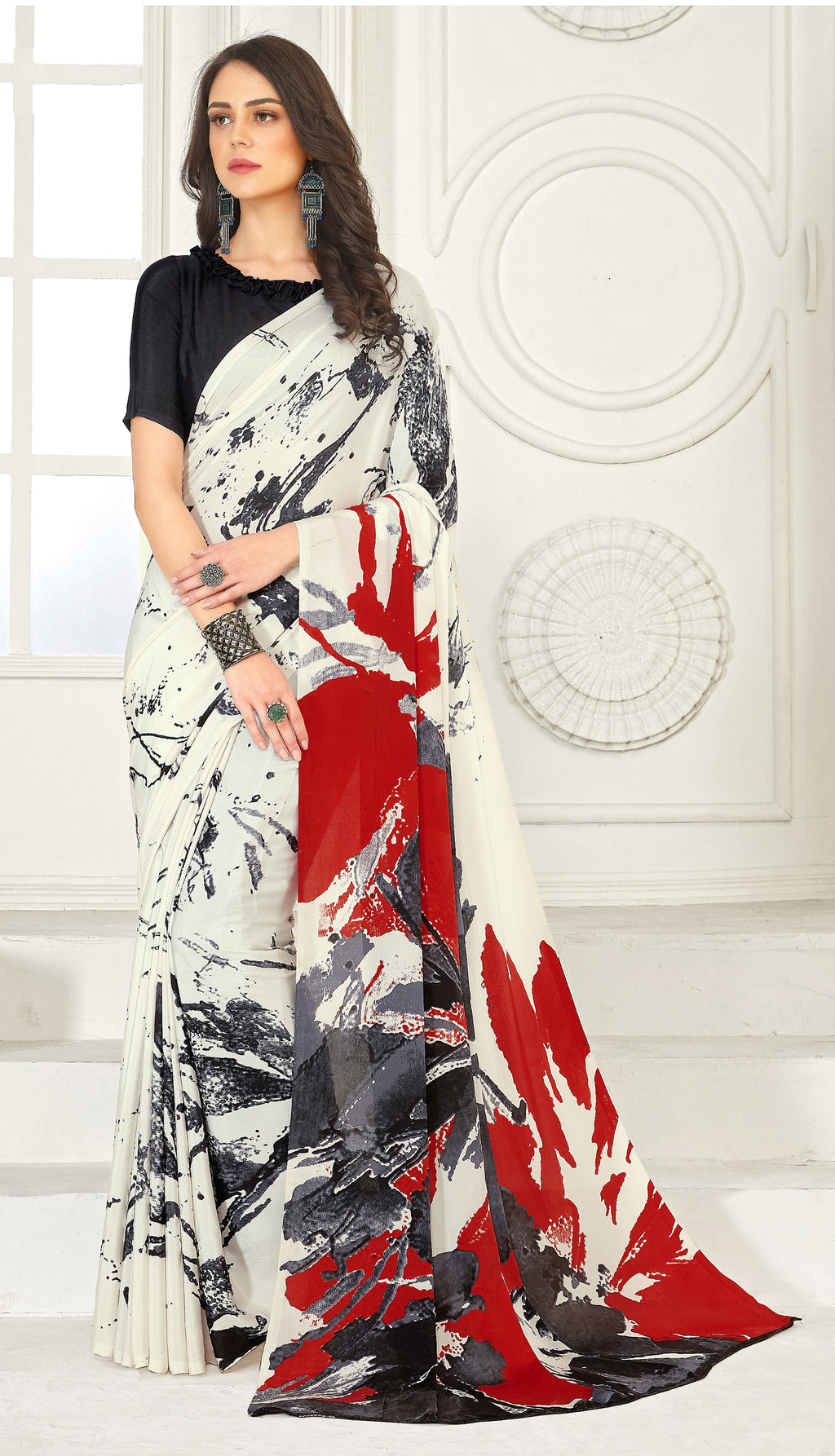 Off White, Red  & Grey Color Crepe  Kitty Party Sarees NYF-8024