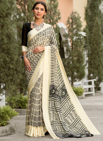 Cream & Black Color Georgette Party Wear Sarees : Pritkrit Collection YF-69276