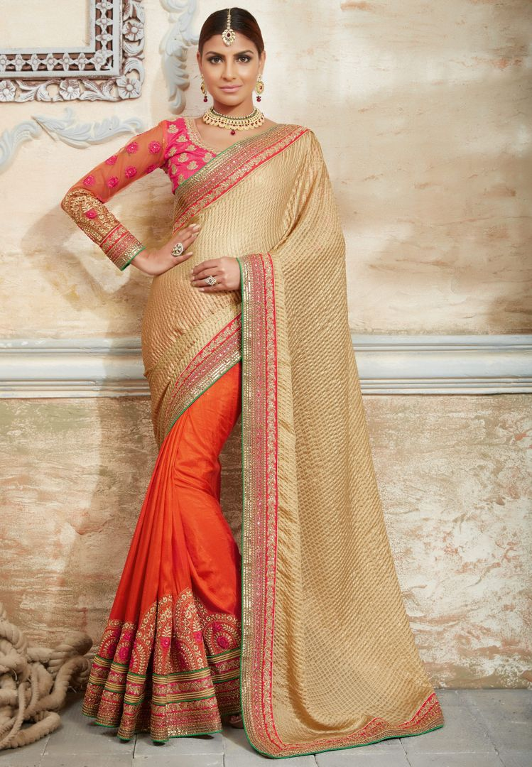 Cream & Orange Color Half Raw Silk & Half Fancy Material Designer Bridal Sarees : Rupashi Collection  NYF-2888 - YellowFashion.in