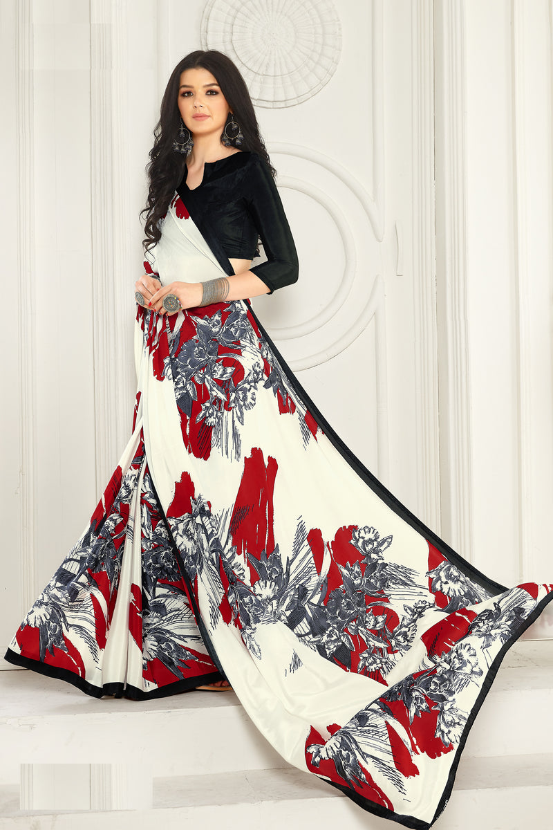 Off White & Red Color Crepe  Kitty Party Sarees NYF-8026