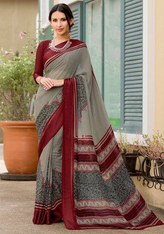Grey Color Georgette Party Wear Sarees : Pritkrit Collection YF-69278