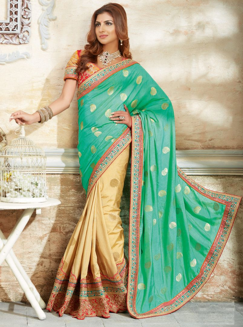Sea Green & Cream Color Raw Silk Designer Bridal Sarees : Rupashi Collection  NYF-2889 - YellowFashion.in