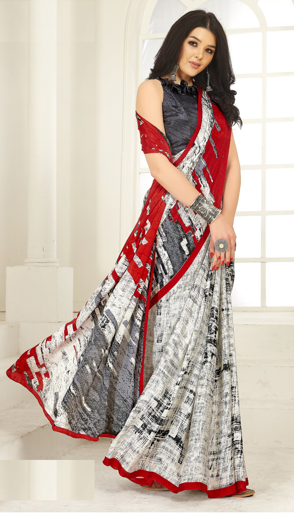 Off White, Red & Grey  Color Crepe  Kitty Party Sarees NYF-8027