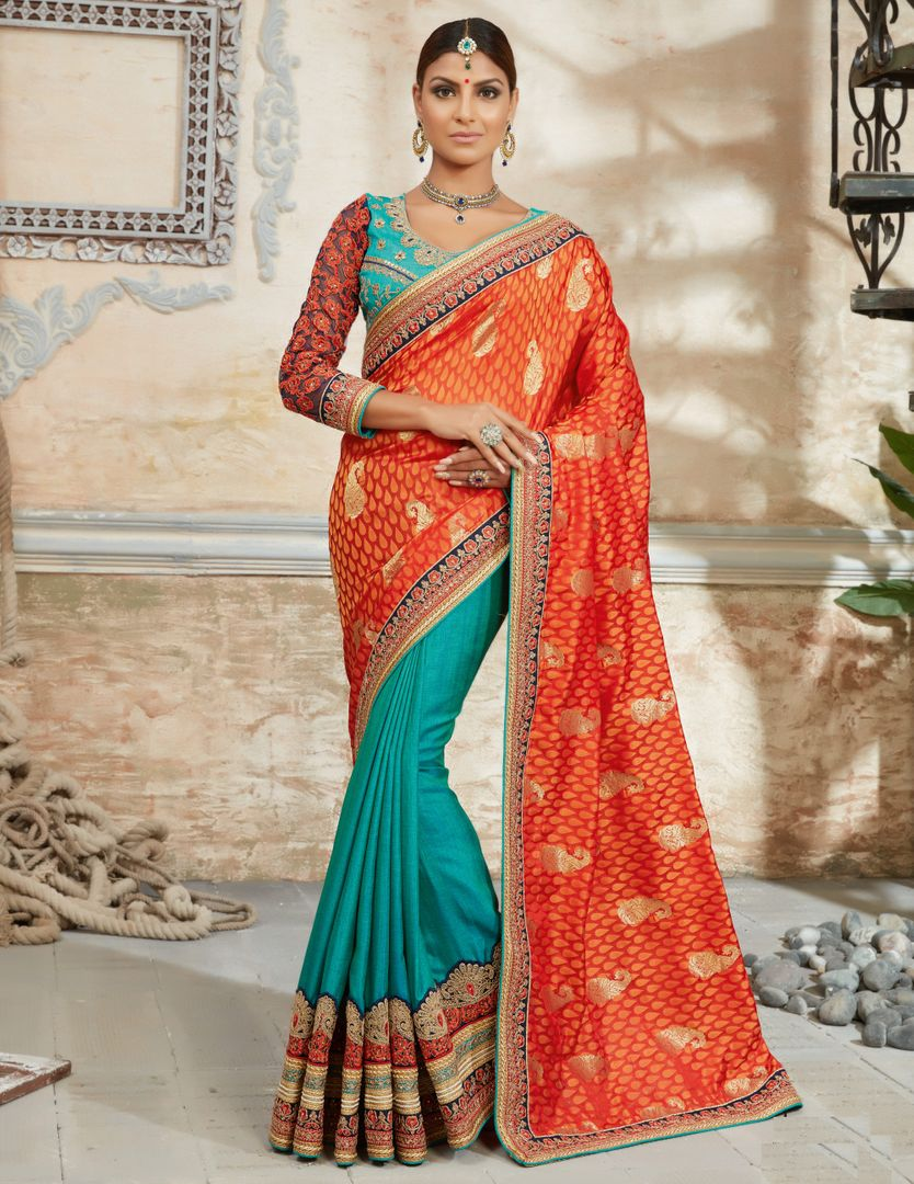 Orange & Firozi Color Half Raw Silk & Half Brocade Designer Bridal Sarees : Rupashi Collection  NYF-2890 - YellowFashion.in
