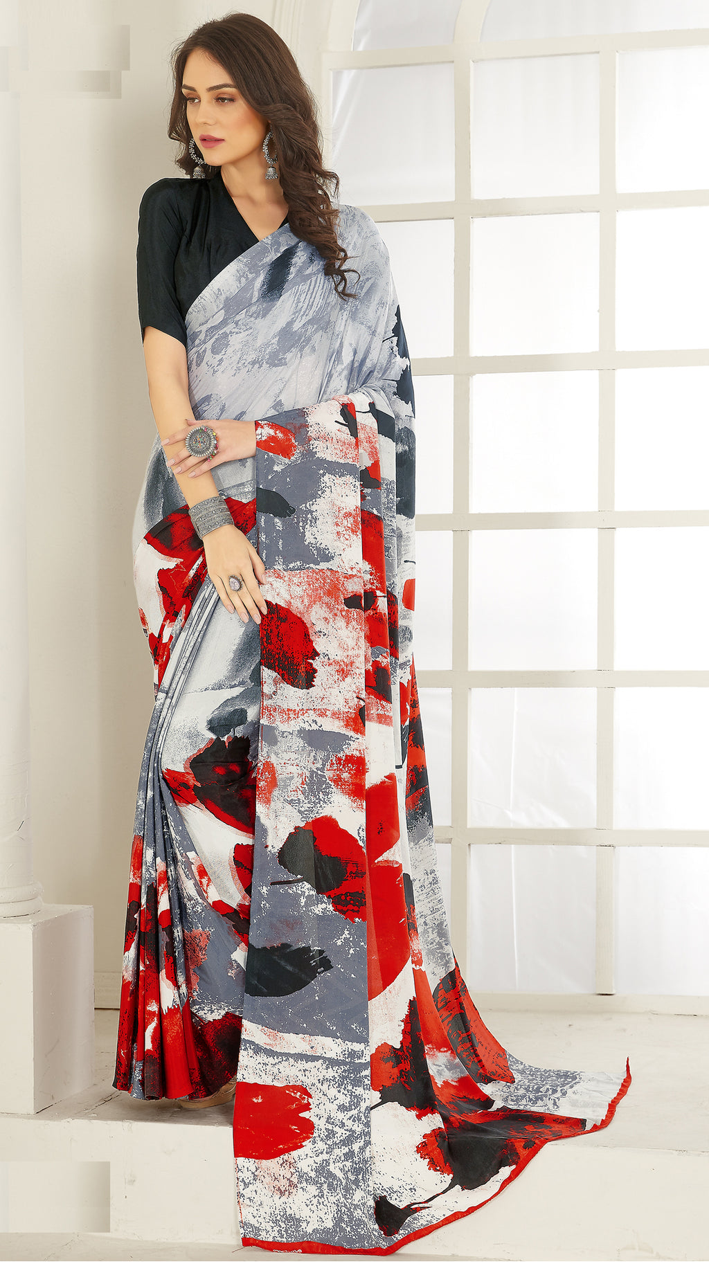 Grey & Red Color Crepe  Kitty Party Sarees NYF-8032