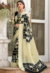 Black & Cream Color Georgette Party Wear Sarees : Pritkrit Collection YF-69283