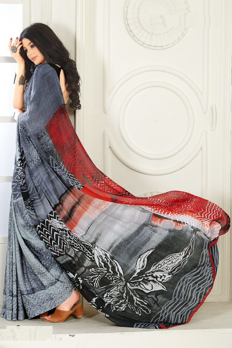 Grey Color Crepe  Kitty Party Sarees NYF-8033