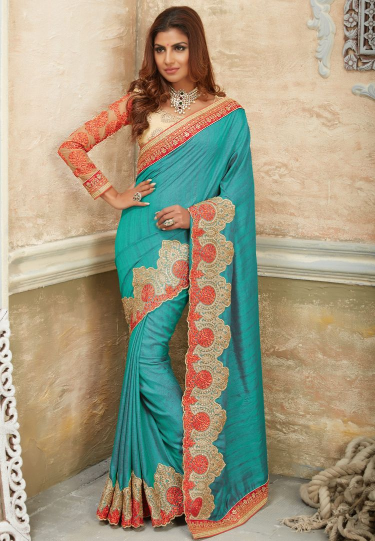 Aqua Blue Color Raw Silk Designer Bridal Sarees : Rupashi Collection  NYF-2891 - YellowFashion.in