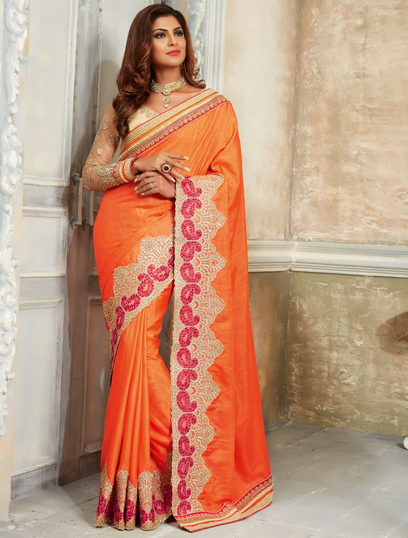 Orange Color Raw Silk Designer Bridal Sarees : Rupashi Collection  NYF-2892 - YellowFashion.in