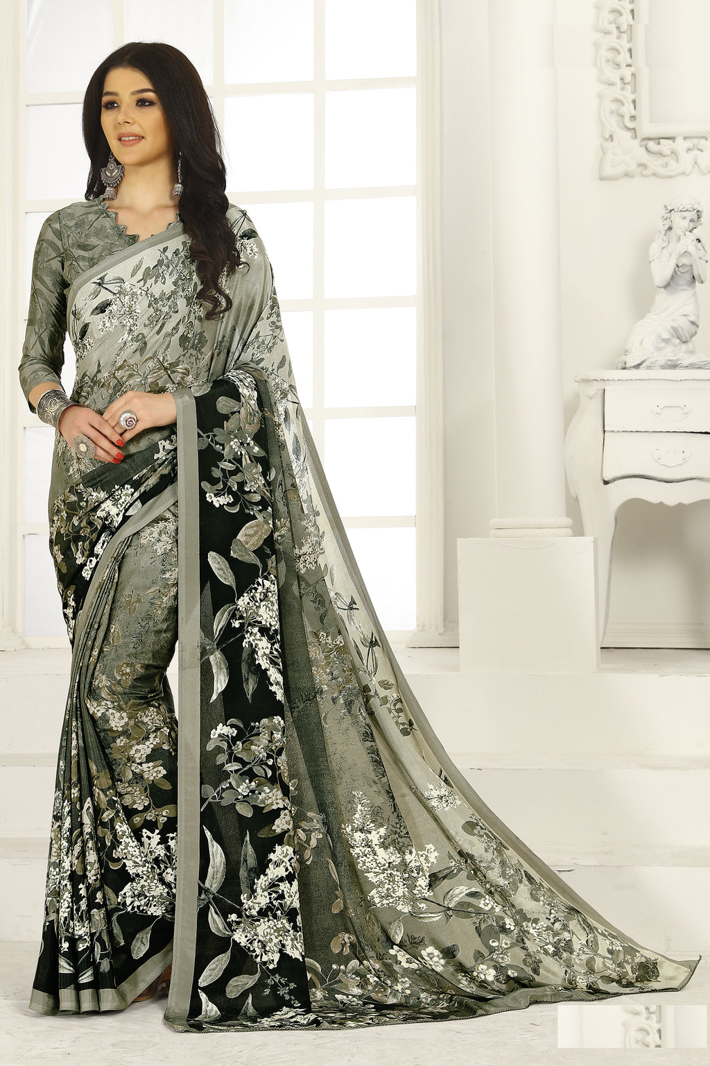 Grey & Olive Green Color Crepe  Kitty Party Sarees NYF-8034