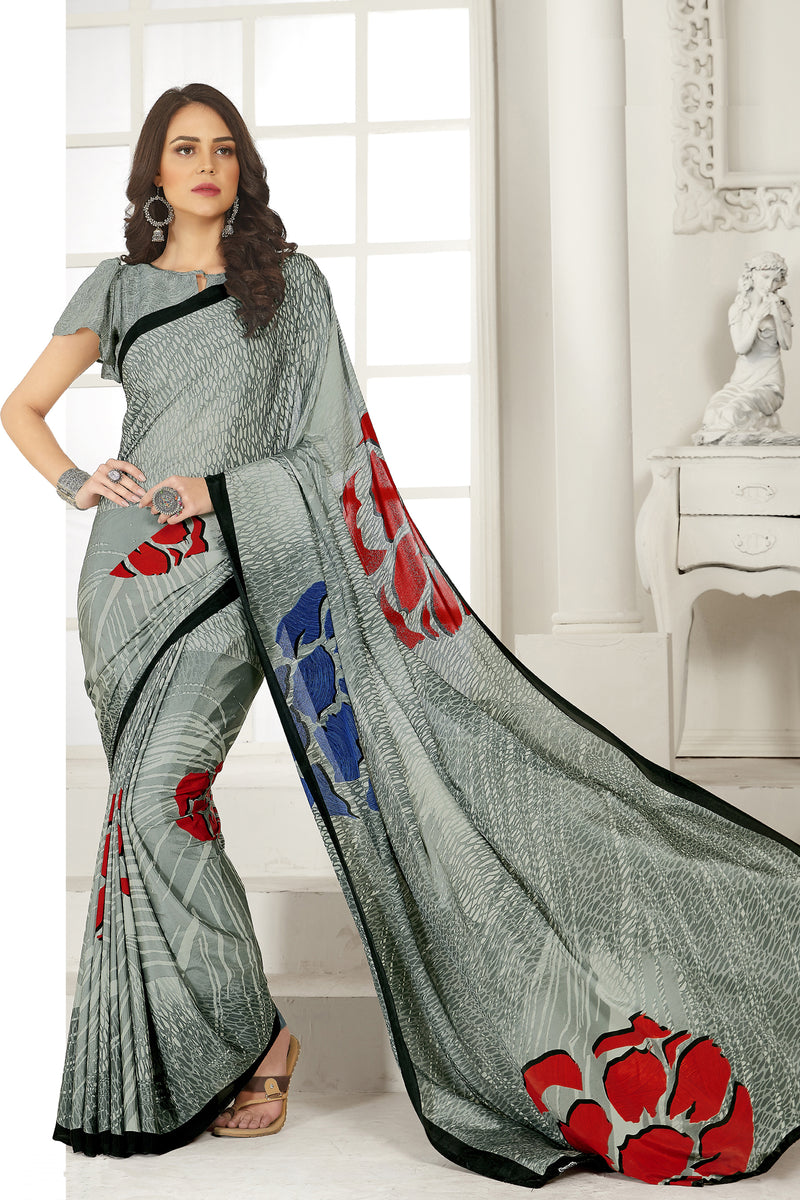 Grey Color Crepe  Kitty Party Sarees NYF-8035