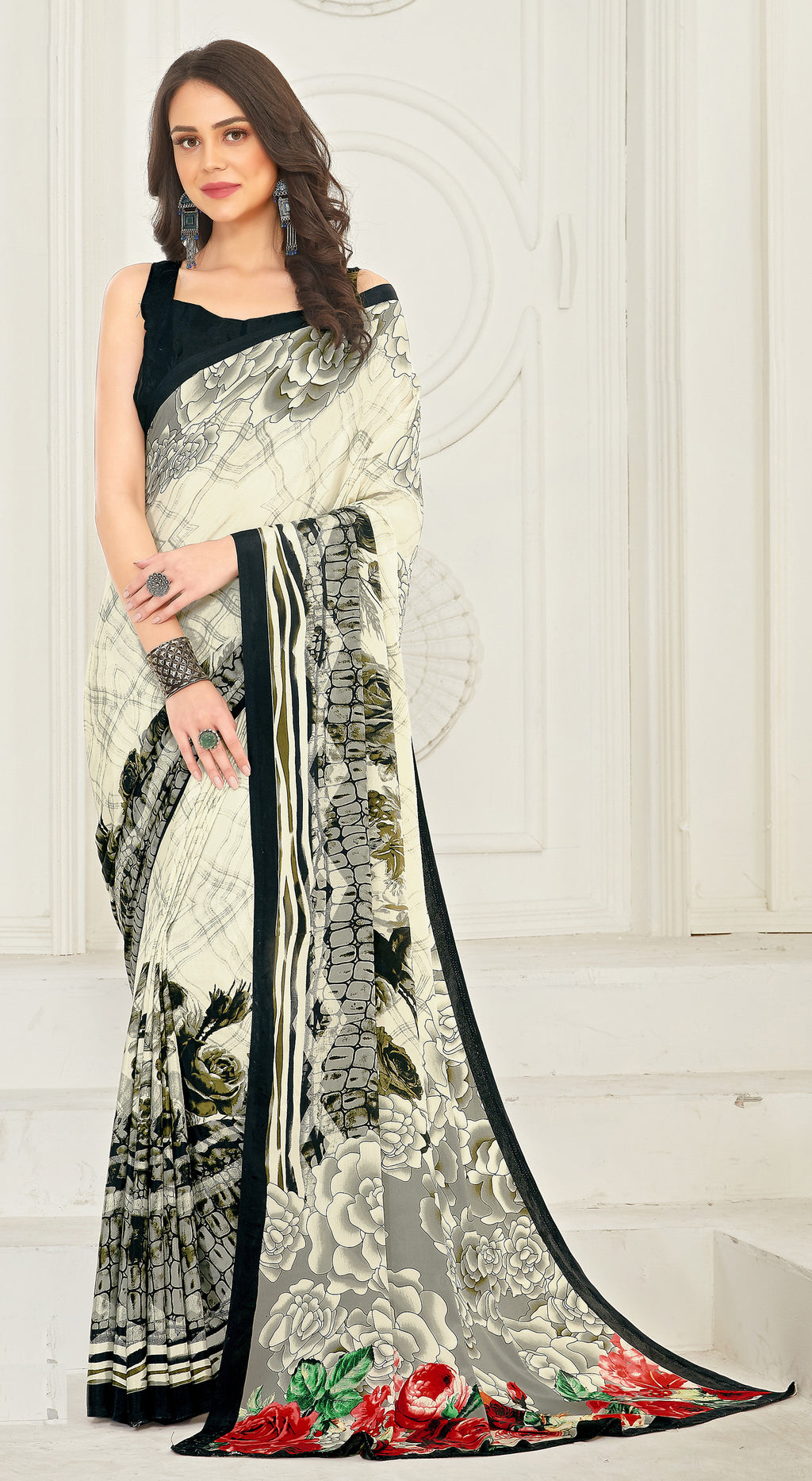 Cream & Grey Color Crepe  Kitty Party Sarees NYF-8036