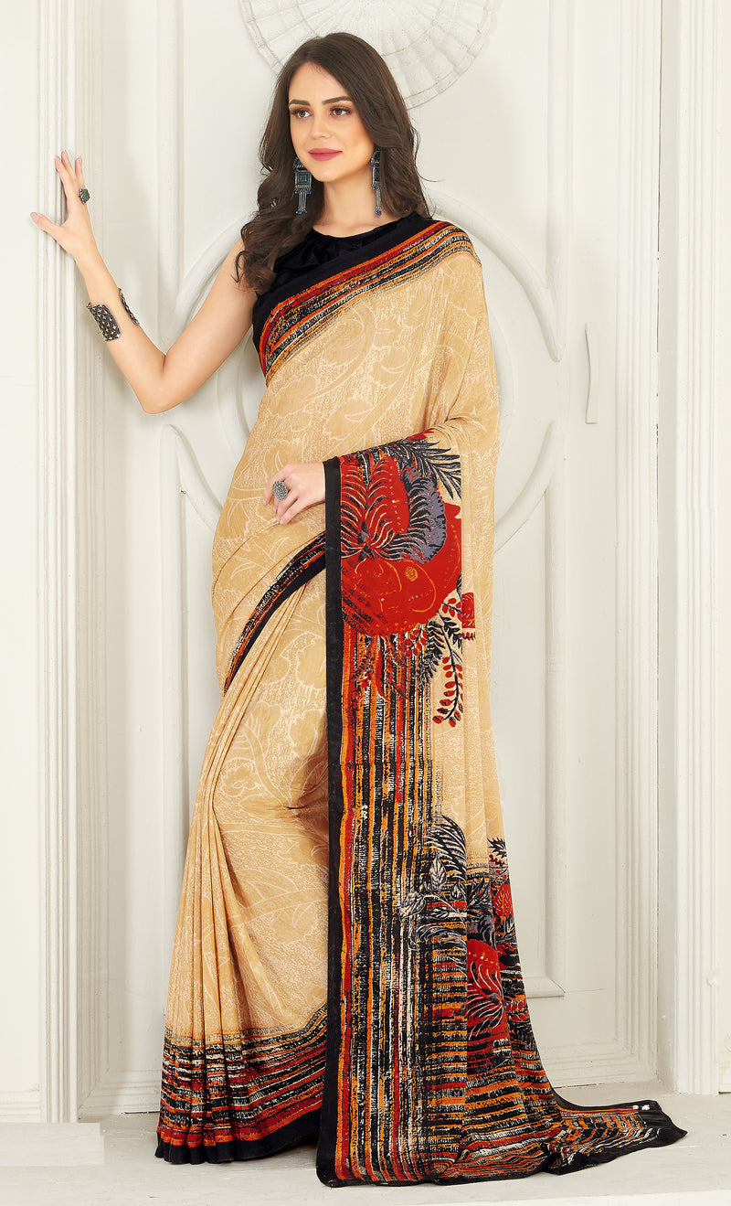 Beige Color Crepe  Kitty Party Sarees NYF-8040
