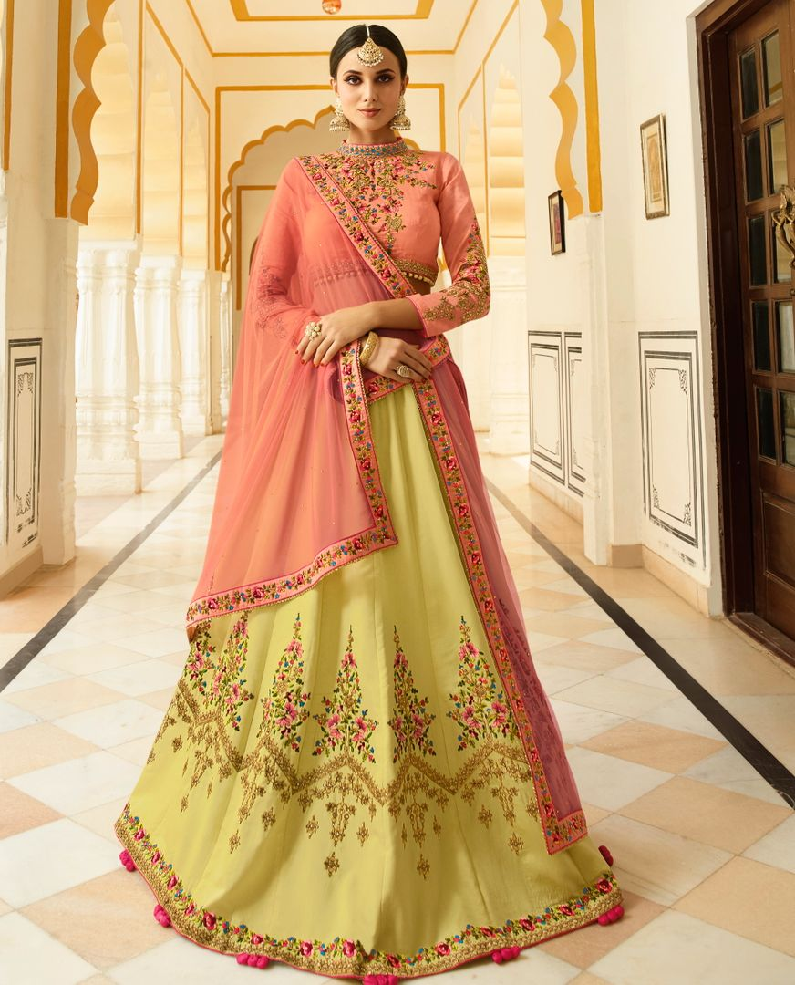 Peach  Barfi Silk Designer Lehenga For Wedding Functions : Kreshti Collection  NYF-3306 - YellowFashion.in