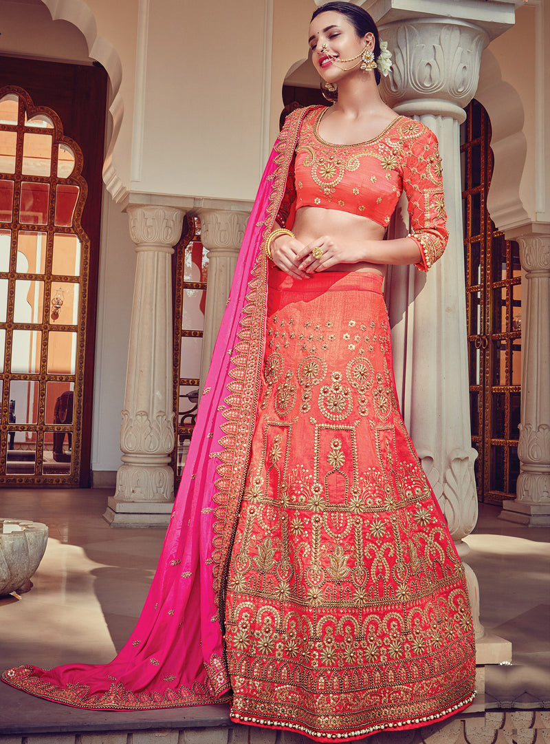 Peach Color Raw Silk Traditional Bridal Wear Lehenga Saree NYF-5726