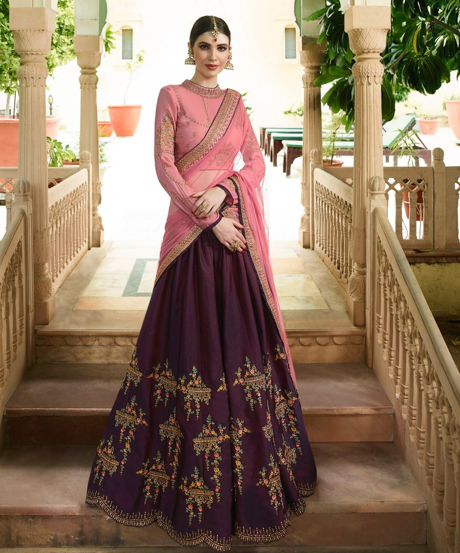 Purple  Barfi Silk Designer Lehenga For Wedding Functions : Kreshti Collection  NYF-3307 - YellowFashion.in