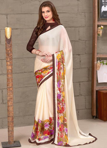 Cream Color Wrinkle Chiffon Party Wear Sarees :  Anupama Collection  YF-42843