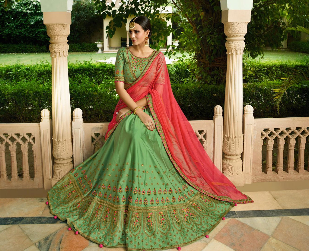 Green  Garima Silk Designer Lehenga For Wedding Functions : Kreshti Collection  NYF-3308 - YellowFashion.in