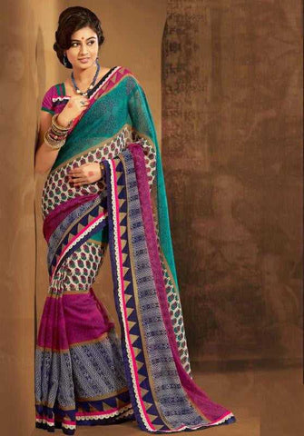 Shades of Blue and Pink Color Terkosa Casual Occasion Sarees : Tanishq Collection  YF-22206