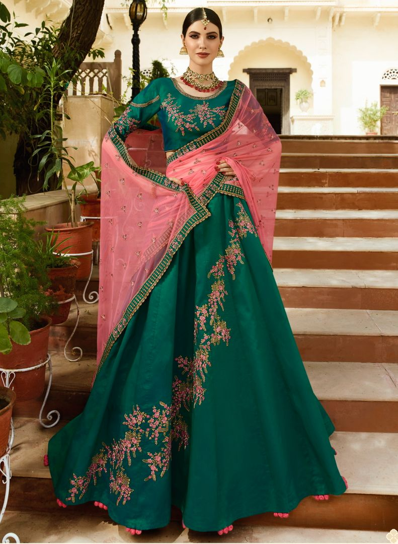 Rama Green  Velvet Silk Designer Lehenga For Wedding Functions : Kreshti Collection  NYF-3309 - YellowFashion.in