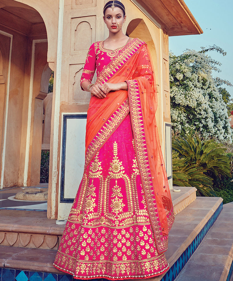 Rani Pink Color Art Silk Traditional Bridal Wear Lehenga Saree NYF-5728