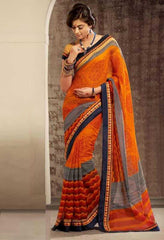 Orange, Grey and Blue Color Terkosa Casual Occasion Sarees : Tanishq Collection  YF-22207