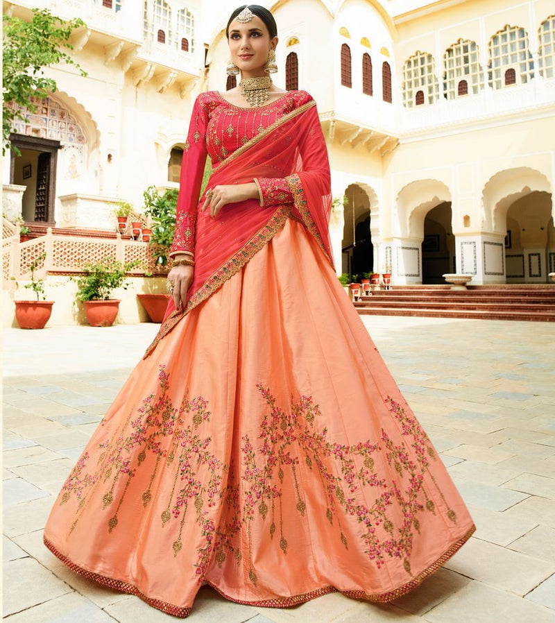 Peach  Barfi Silk Designer Lehenga For Wedding Functions : Kreshti Collection  NYF-3310 - YellowFashion.in