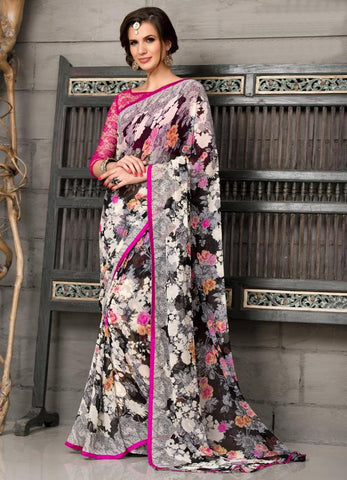 Grey, Black & Pink Color Georgette Party Wear Sarees :  Anupama Collection  YF-42846