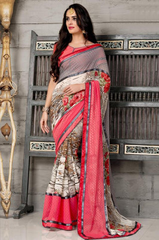 Cream & Pink Color Half Georgette & Half Brasso Party Wear Sarees :  Anupama Collection  YF-42847