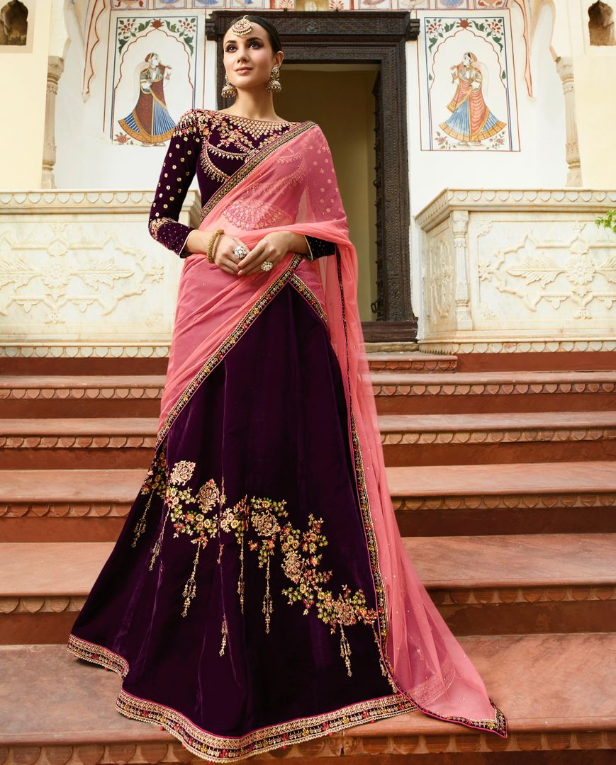 Purple  Velvet Designer Lehenga For Wedding Functions : Kreshti Collection  NYF-3312 - YellowFashion.in