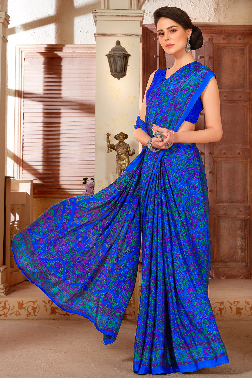 Blue Color Crepe  Kitty Party Sarees NYF-8041