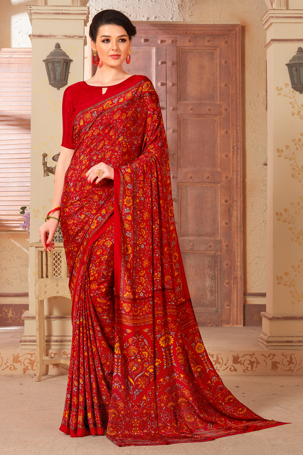Red Color Crepe  Kitty Party Sarees NYF-8042