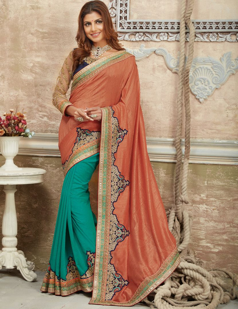 Peach & Aqua Blue Color Crepe Silk Designer Festive Sarees : Raviya Collection  NYF-2926 - YellowFashion.in
