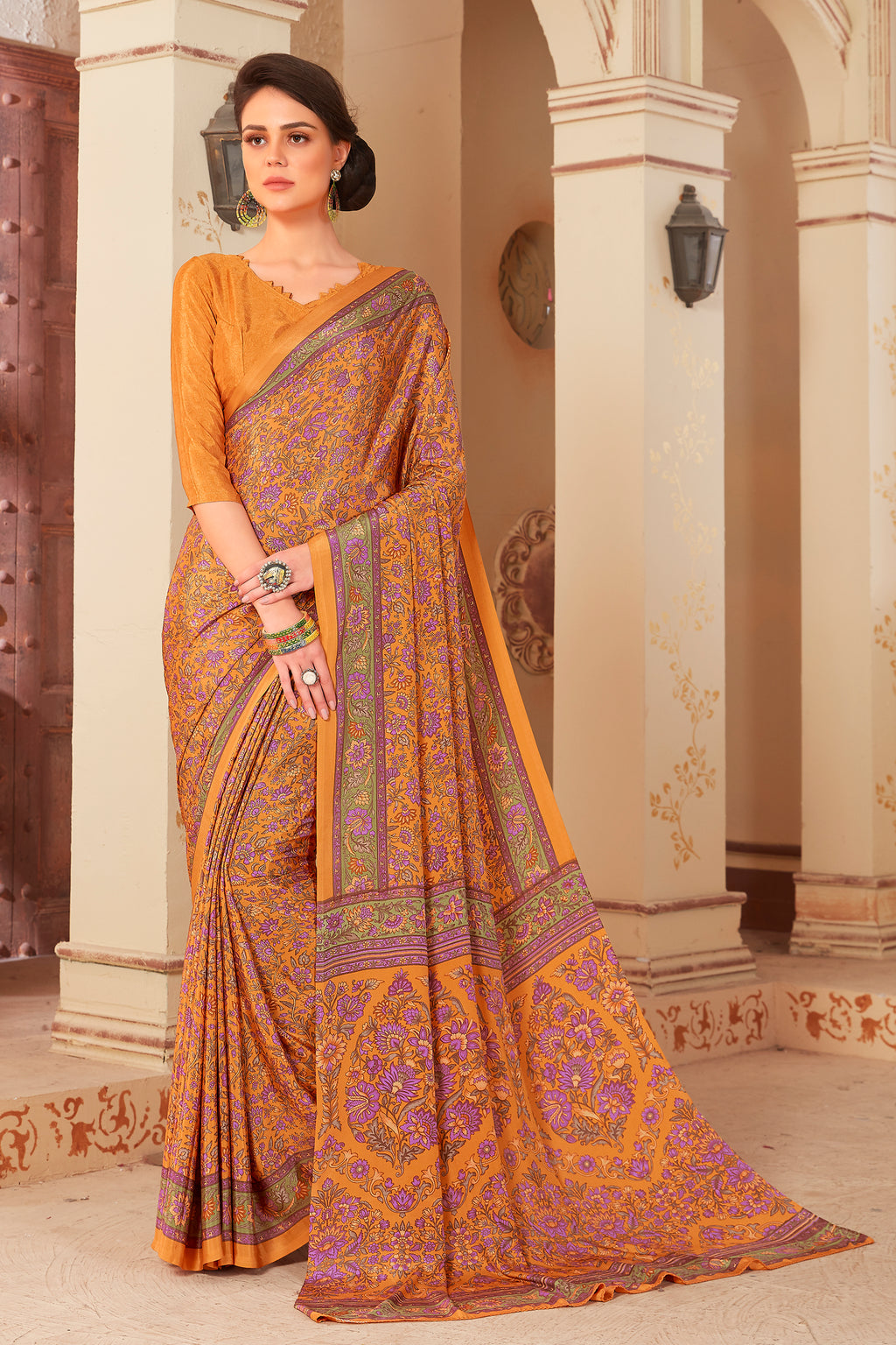 Orange Color Crepe  Kitty Party Sarees NYF-8043
