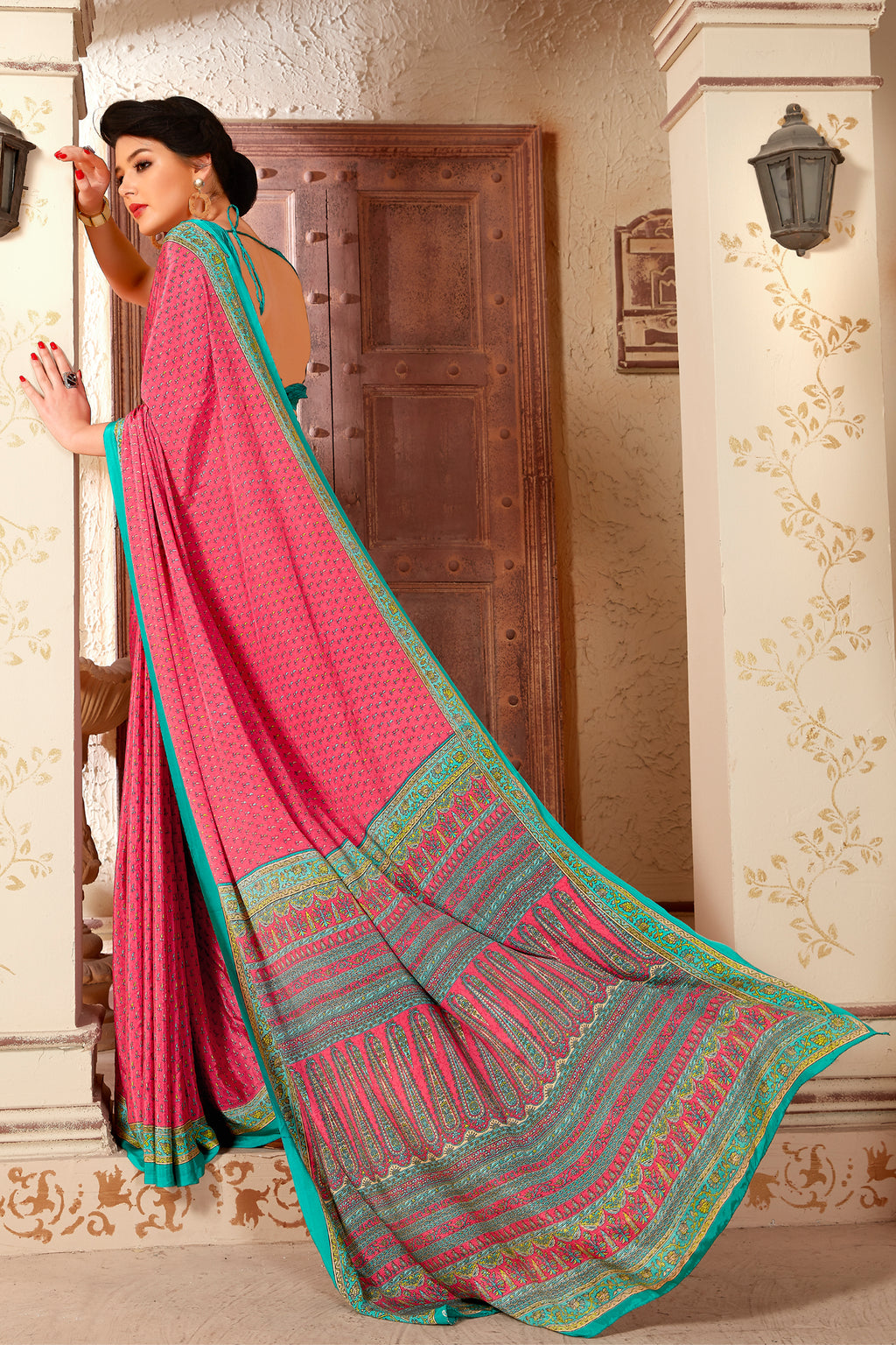 Pink Color Crepe  Kitty Party Sarees NYF-8046