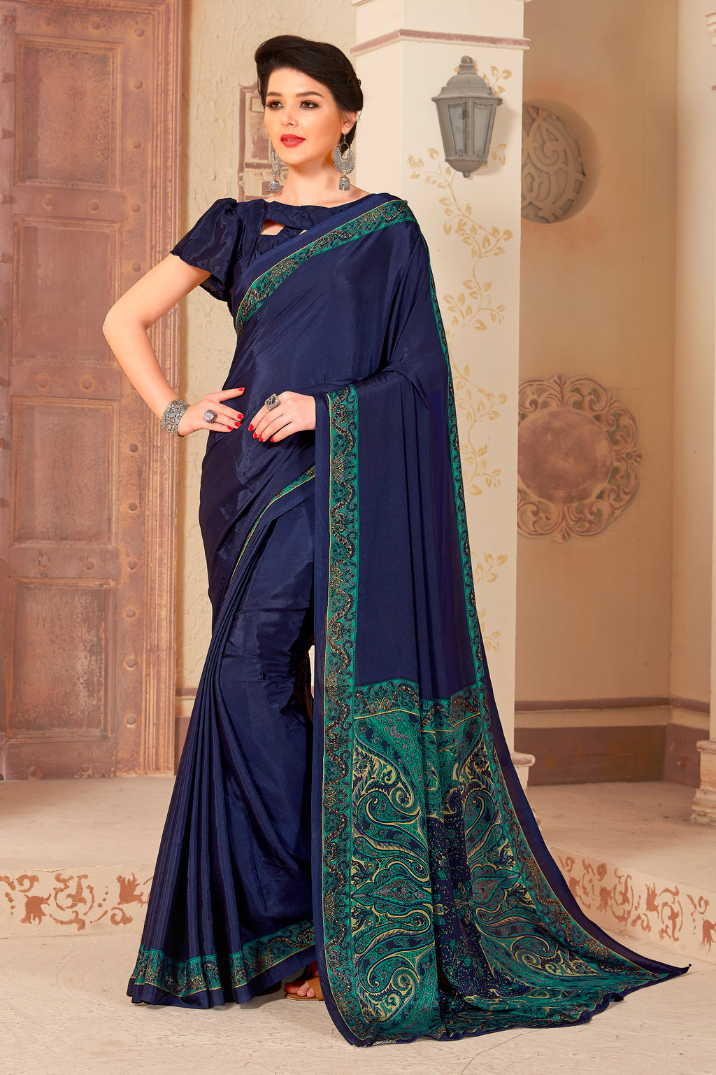 Navy Blue Color Crepe  Kitty Party Sarees NYF-8047