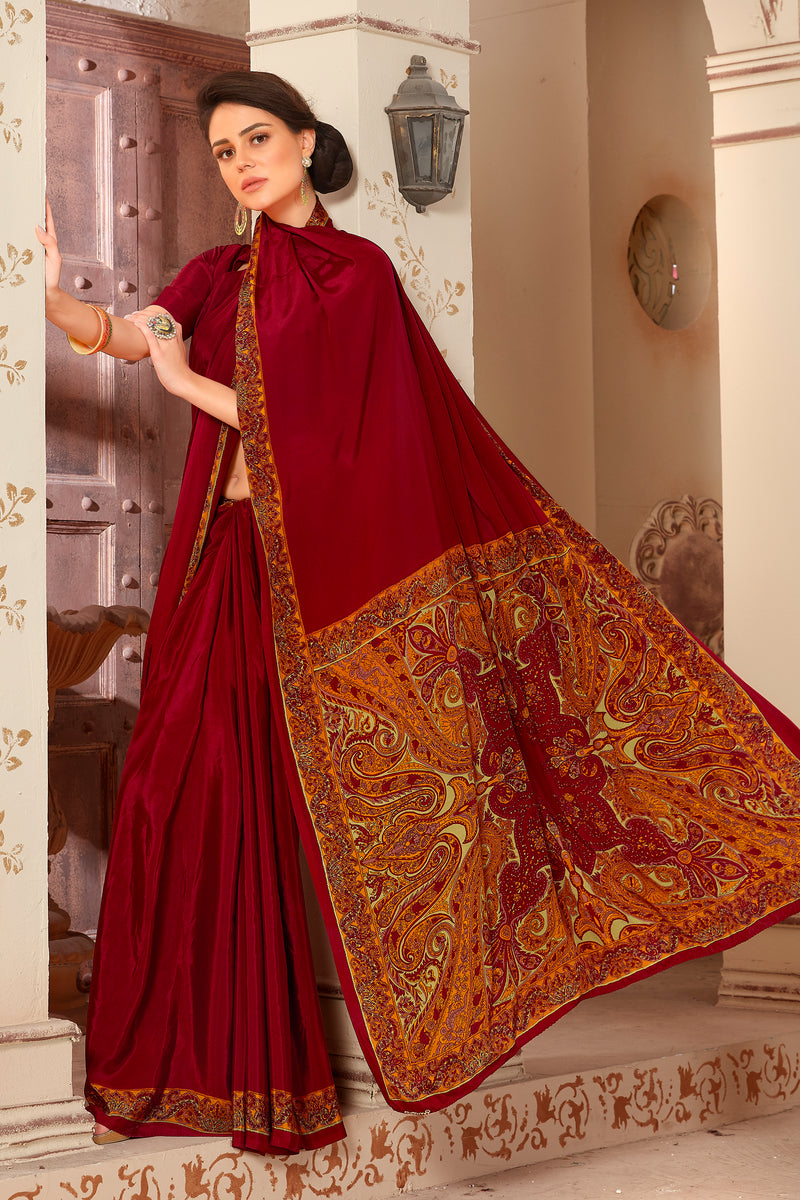 Maroon Color Crepe  Kitty Party Sarees NYF-8048