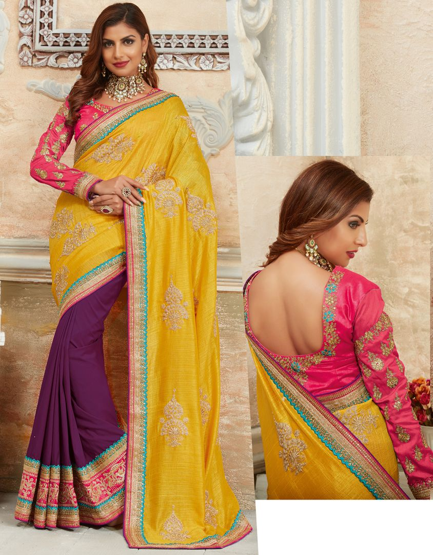Yellow & Purple Color Crepe Silk Designer Festive Sarees : Raviya Collection  NYF-2927 - YellowFashion.in