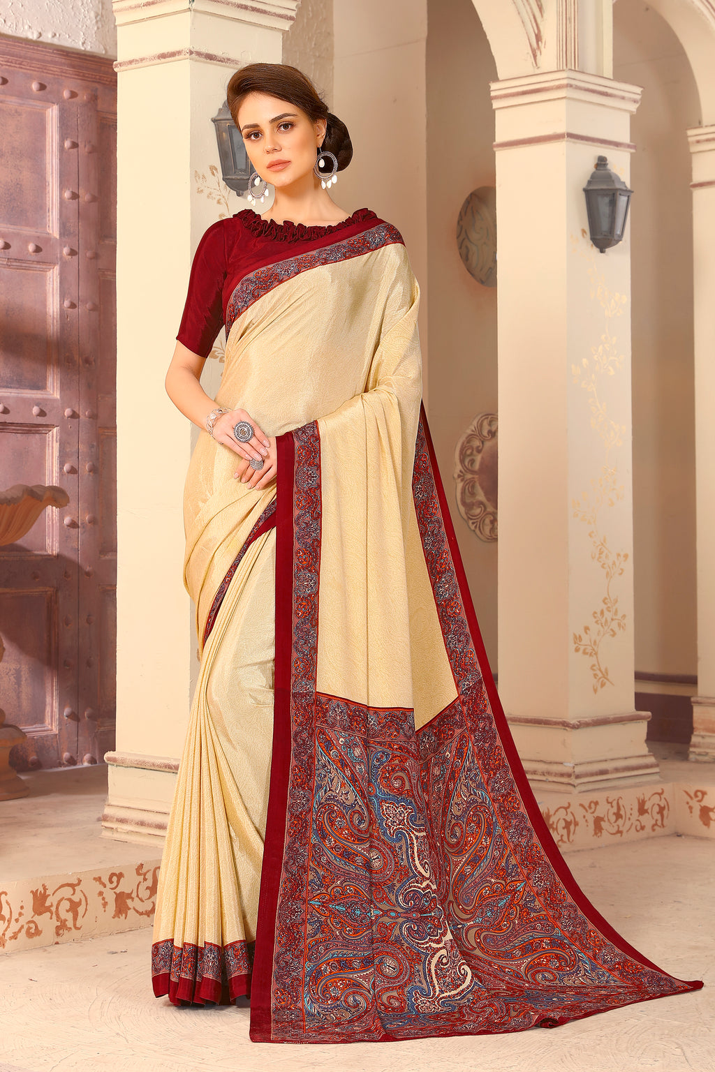 Cream & Maroon Color Crepe  Kitty Party Sarees NYF-8049