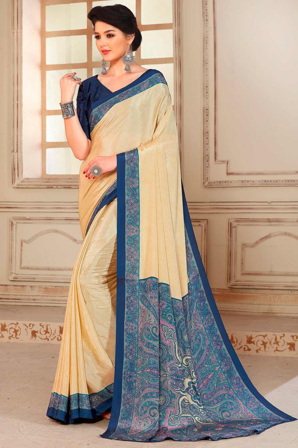 Cream & Blue Color Crepe  Kitty Party Sarees NYF-8050