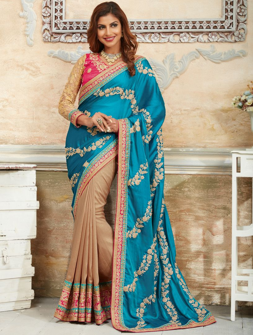 Firozi & Light Coffee Color Crepe  Silk Designer Festive Sarees : Raviya Collection  NYF-2928 - YellowFashion.in