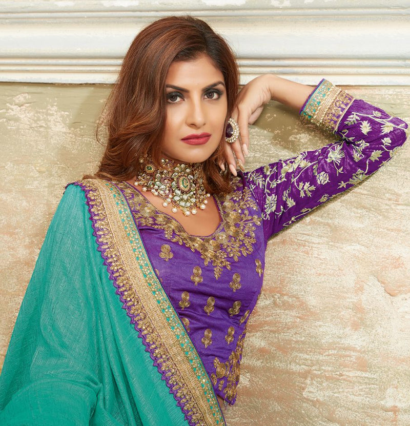 Rama Green & Lavender Color Crepe Silk Designer Festive Sarees : Raviya Collection  NYF-2929 - YellowFashion.in